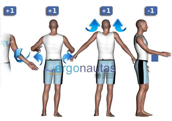 ergonautas- REBA - Modificación de la puntuación del brazo.