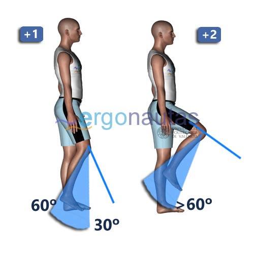 ergonautas- REBA - Incremento de  la puntuación de las piernas