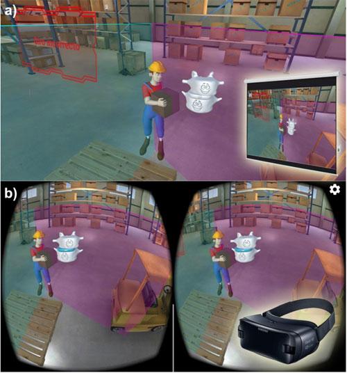 Medios utilizados para impartir la capacitación: (a) Presentación de video simple que se muestra en una pantalla de proyección; (b) Entorno interactivo en 3D que se ejecuta en un smartphone VR.